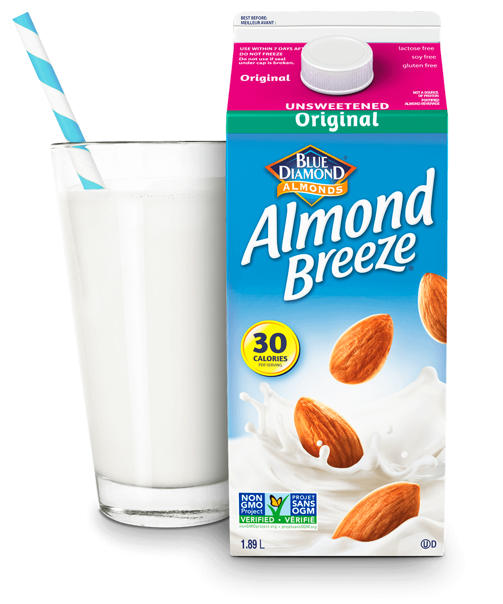 Almond Breeze Unsweetened Original packaging with glass