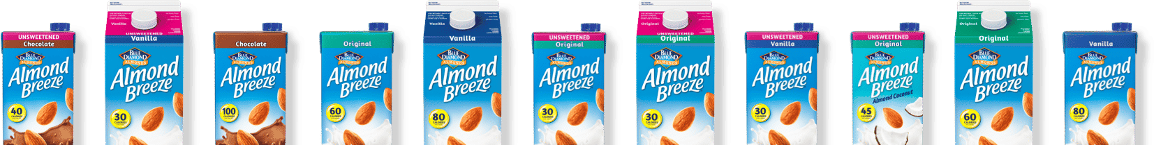 Row of Almond Breeze product packaging photos