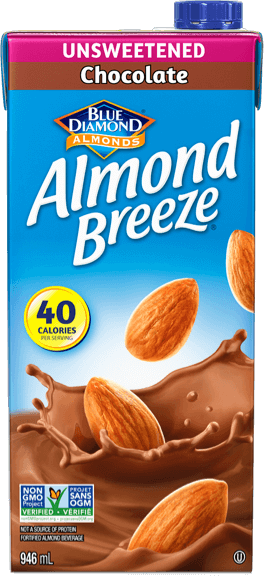 Shelf stable unsweetened chocolate almond breeze packaging