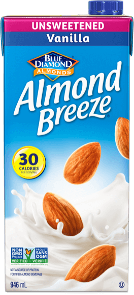 Shelf stable unsweetened vanilla almond breeze packaging
