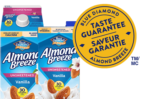 Almond beverage unsweetened packaging with blue diamond taste guarantee badge